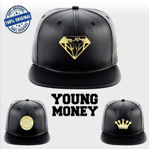 Boné Aba Reta Snapback Young Money Ym Preto Diamante Coroa
