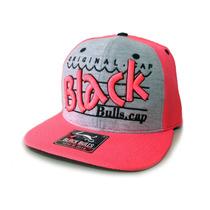 Boné Black Bulls Rosa/moletom Aba Reta Feminino Snapback Top
