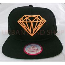 Bone Preto Snapback Diamond Supply Co. Importado (laranja)
