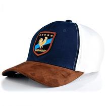 Boné Jãum Jãum Rooster 6369 - Azul Marinho/brasão Aba Marron