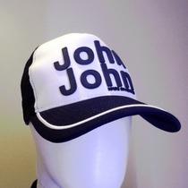 Boné John John Branco Com Logo Azul - Original