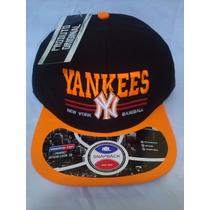 Boné New York Original Aba Reta Yankees Aberto Laranja Ny