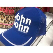 Boné John John Feminino Letras Bordado E Detalhe Azul