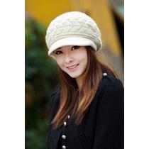 Gorro Branco Boné Feminino Em Lã De Algodão Super Oferta