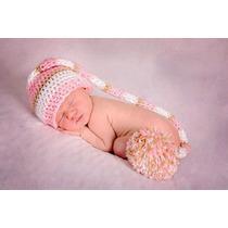Touca Croche Modelo Elfo Napolitana Gorro Newborn Bebês Bonê