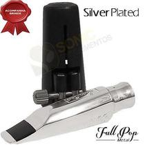 Boquilha Everton Sax Alto Full Pop Metal 8 Prata Silver