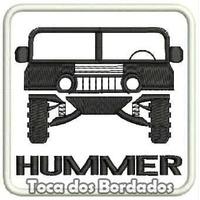 Patch Bordado Hummer 4x4 Gm Fundo Branco 8cmx8cm Suv Car406