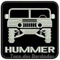 Patch Bordado Hummer 4x4 Gm Fundo Preto 8cmx8cm Suv Car407