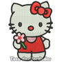Patch Bordado Infantil Hello Kitty Vm Com Flor 9cm Per11