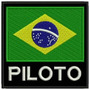 Patch Bordado Bandeira Brasil Piloto 9x9cm Preto Kart Esp51
