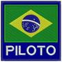 Patch Bordado Bandeira Brasil Piloto 9x9cm Azul Kart Esp48