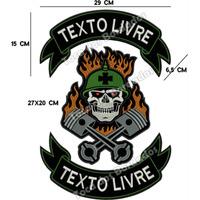 Patch Bordado Gr Caveira Soldado Moto C/ Texto Livre Car475