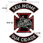 Patch Bordado Esqueleto De Moto Com Texto Livre 40cm Car513