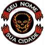 Bordado Gr Fire Skull C/ Seu Nome E Cidade Patch Moto Car382