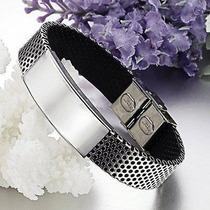 Pulseira Bracelete Couro Aço Inox Masculino Feminino Prata
