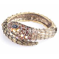 Bracelete De Cobra Folheado A Bronze Com Swarovski Dourado