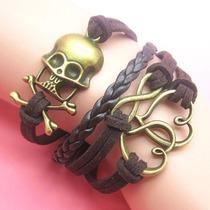 Pulseira Bracelet Amigos Infinitamente Metal Carmuça Couro