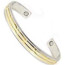 Bracelete Pulseira Prata/dourado C/ Extremidade Magnéticas