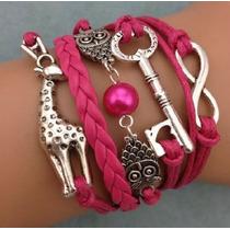 Pulseira Bracelet Coruja Girafa Amizade Metal Carmuça Couro