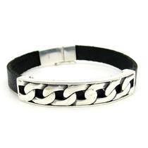 Bracelete Pulseira Prata De Lei 925 E Couro Modelo Groumet