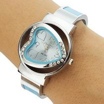 Relogio/bracelete Prata Vidro/aço Inoxid Feminino 6 Modelos