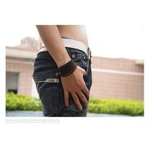 Pulseira Masculina Feminina Couro Legítimo Bracelete