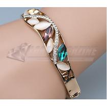 Bracelete Feminino Cristal Swarovski + Zircônia Banhado Ouro