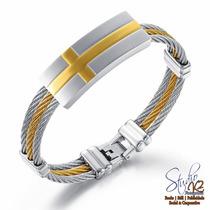 Bracelete Pulseira Em Aço Classica Cruz Dourada Masculina