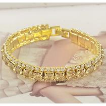 Pulseira Bracelete 9k Filled Gold - Cristais Swarovski