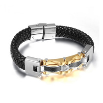 Pulseira Bracelete Masculino Feminino Couro Banhado A Ouro