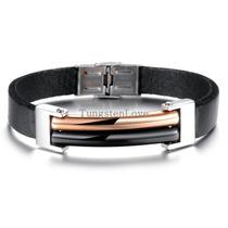 Pulseira Bracelete Couro Aço Inox Ouro Dourado Preto Masculi