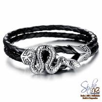 Bracelete Pulseira Aço Titanio Couro Cobra Snake Masculino