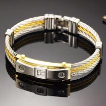 Pulseira Bracelete Masculina Aço Inox Banhada Ouro 18k Luxo