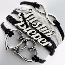 Pulseira Bracelete Múltiplo Justin Bieber - Preto Com Branco