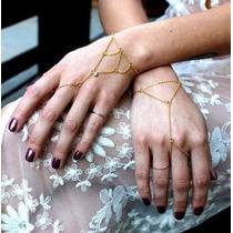 Kit 2 Anel Pulseira Indiana Slave Bracelets Com Cristais