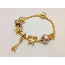 Bracelete Em Ouro 18, Estilo Vivara E Pandora Com 7 Charmes.
