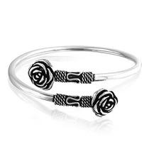 Bling Jewelry Rose Flor Bali Corda Canhão Pulseira Prata