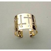 Bracelete Dourado Folheado Crucifixo Vazado