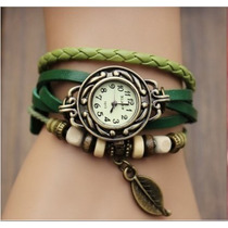 Relógio Feminino Vintage Retro Pingente Folha Verde Couro