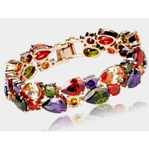 Pulseira Bracelete Feminino Cristal Swarovski Banhado Ouro