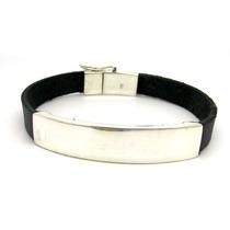 Bracelete Pulseira Prata De Lei 925 E Couro Mod Tradicional