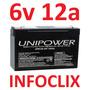 Bateria Selada 6v 12a Up6120 Brinquedos 6 12 12ah Unipower @
