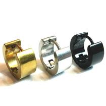Brinco Argola Aço Cirúrgico 6mm 1 Preto, 1 Prata E 1 Dourado