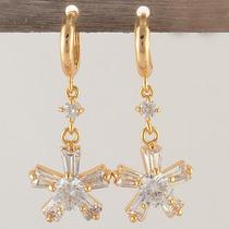 Brincos Diamantes Folheado Ouro 9k Estrela B004