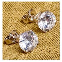 Lindo Brinco Pedra Natural Zirconia - Metal : Prata