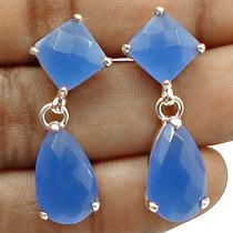 Calcedônia Azul Natural No Lindo Brinco Em Prata 925