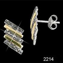 Brinco De Prata 925 Marcassitas Detalhes Folheados Ouro18k