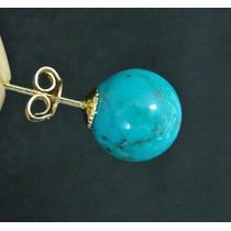 Hs Pedras - Par Brincos Turquesa 10mm E Ouro 18kts Cód153b74