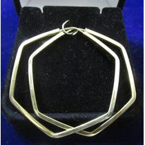 Brinco Argola Hexagonal Ouro 18k 750 2.6g Christianjoias.net