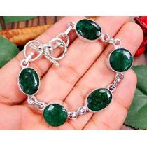 Lindo Bracelete De Esmeralda Indiana Com Fecho De Prata 925